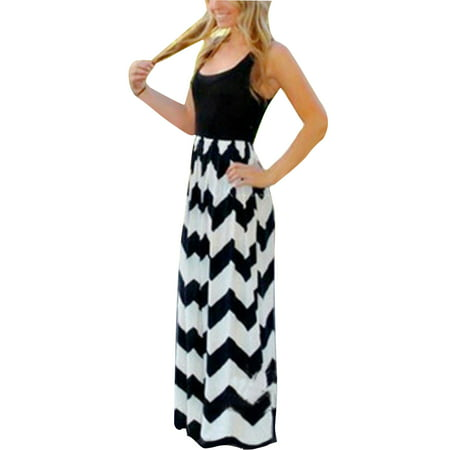 Casual Dress for Womens Plus Size Wave Striped Summer Beach Boho Dress Party Cocktail Long Maxi Dresses - Striped Maxi