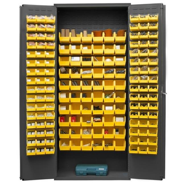 14 Gauge Flush Door Style Lockable Cabinet with 156 Yellow Hook on Bins, Gray - 36 in.