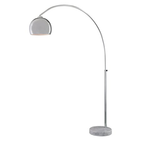 George Kovacs by Minka P053-077 1-Light Arc Lamp with White Marble Base - Chrome - 64.5W in.