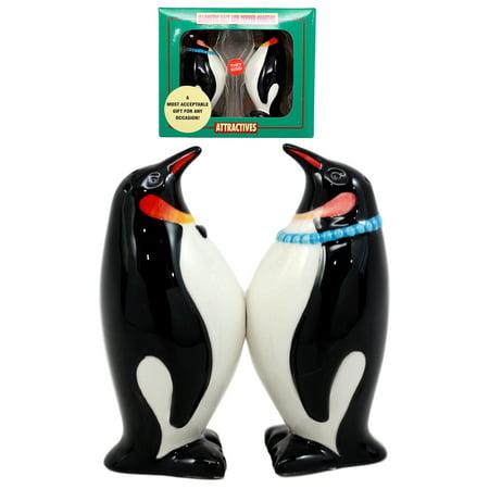 Ebros Polar Opposites Emperor Penguin Salt & Pepper Shakers Ceramic Magnetic Figurine Set 3