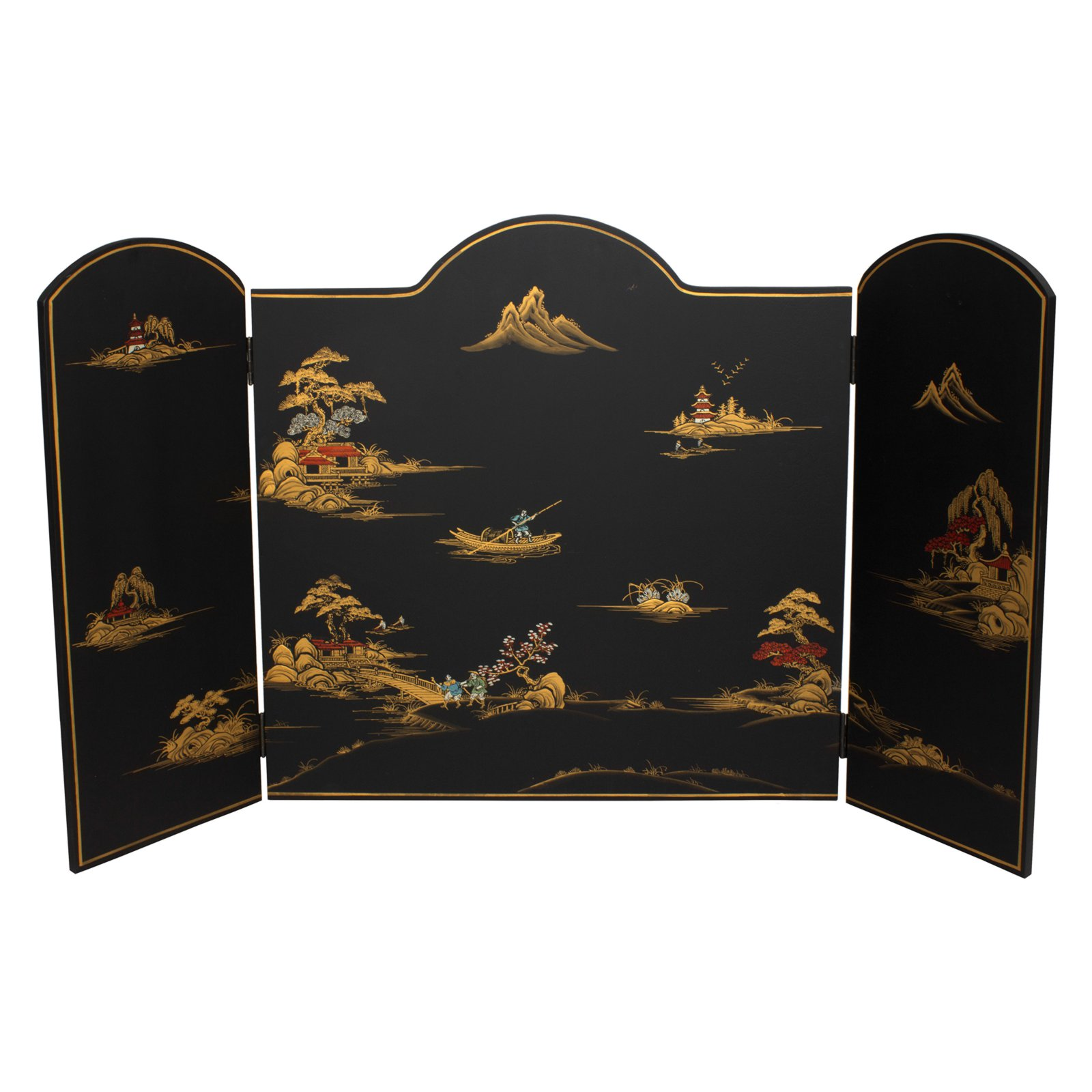 Oriental Furniture Black Landscape Lacquer Fireplace Screen by Oriental Furniture