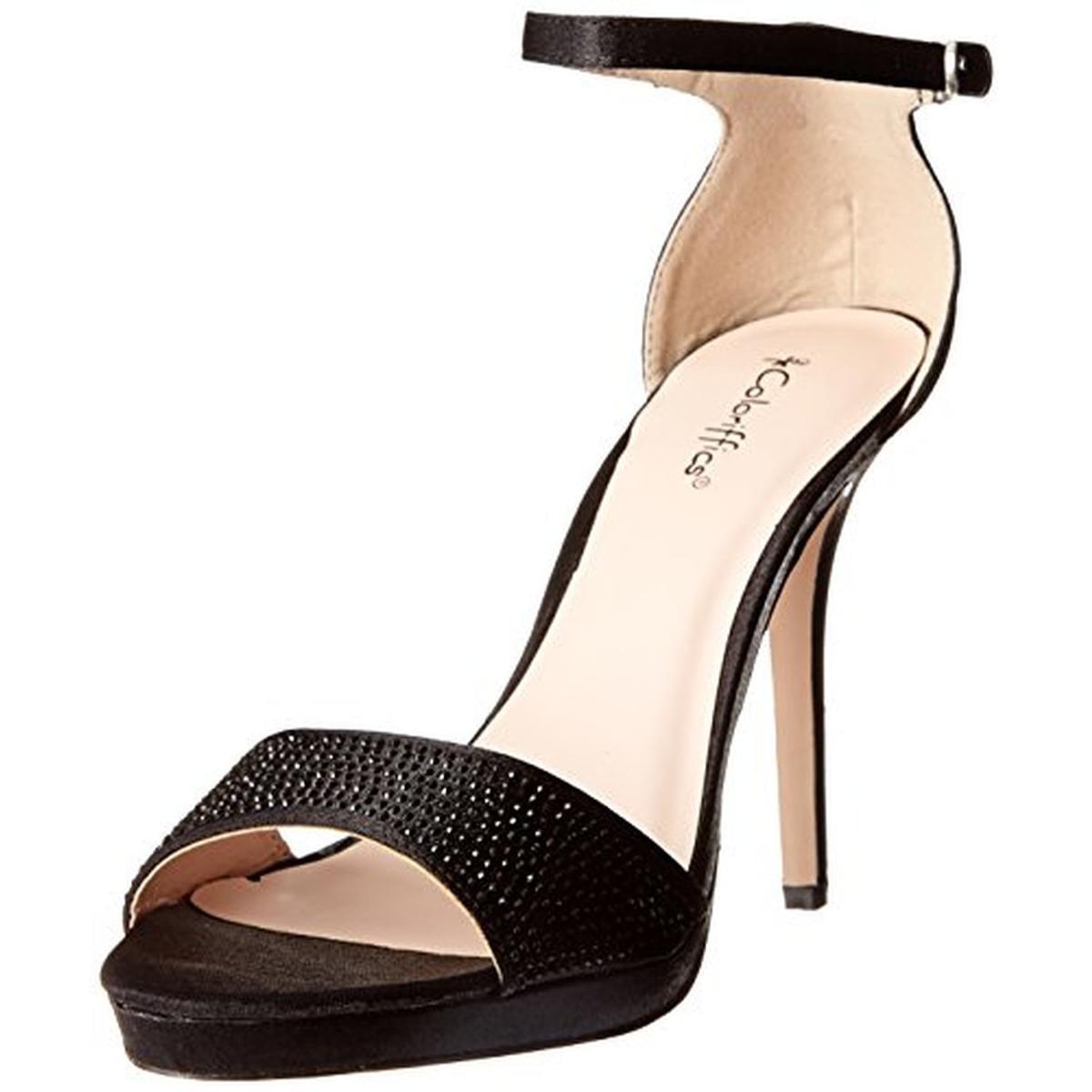 Coloriffics Womens Kayla Beaded Ankle Strap Open-Toe Heels by Coloriffics