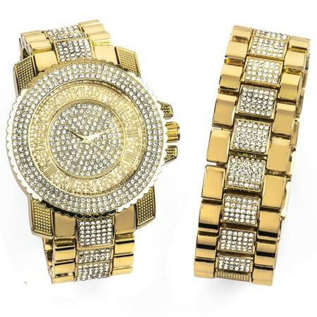 14K Yellow Gold Bling Master Watch/Bracelet Set 14k Solid Gold Watch