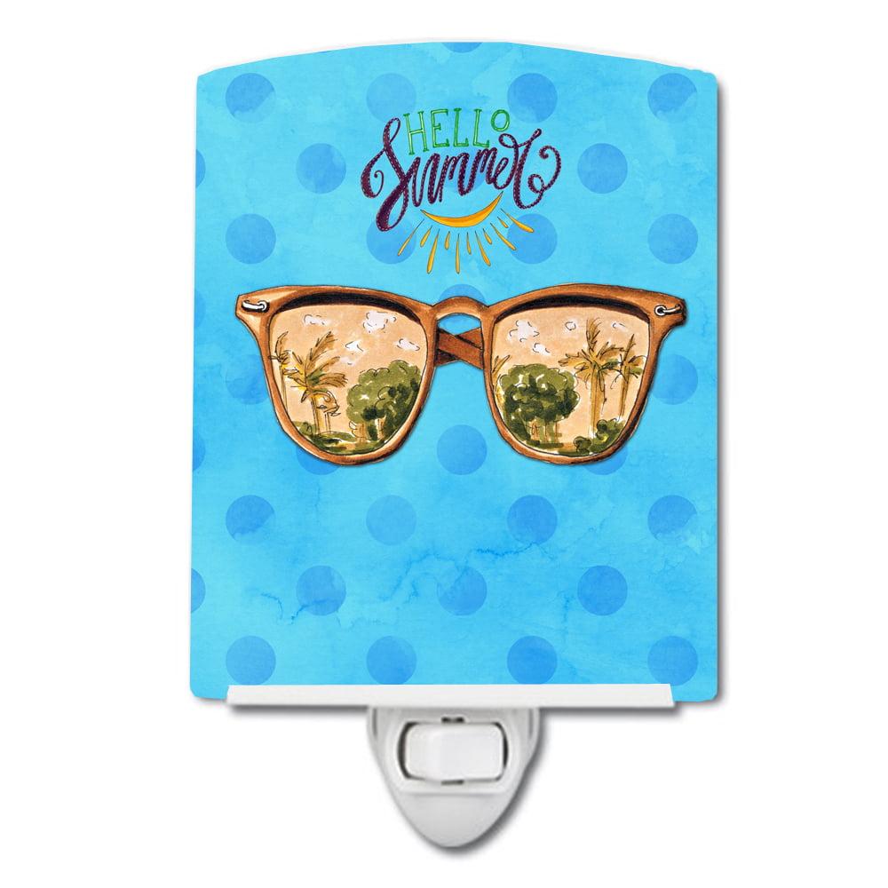Beach Sunglasses Blue Polkadot Ceramic Night Light