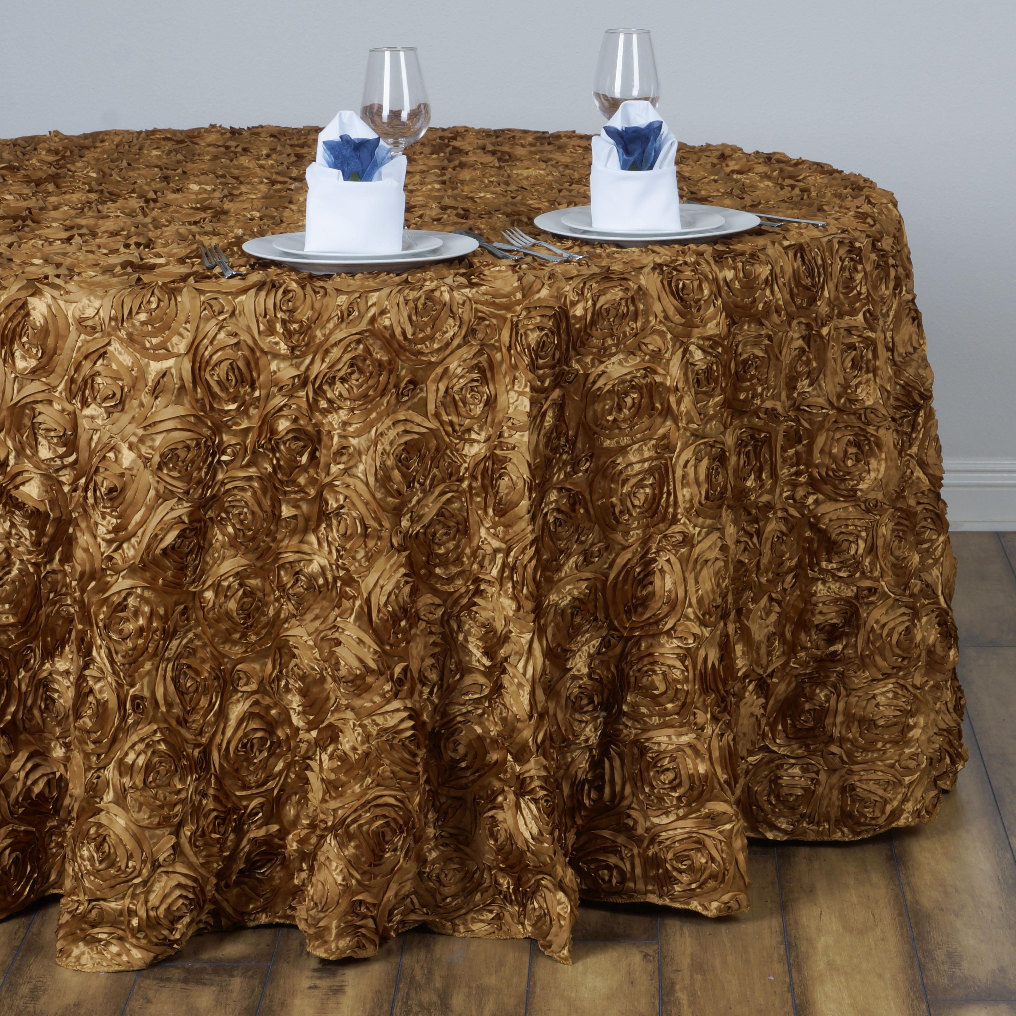 "Efavormart Rosette/ Rose Pattern Round Tablecloths 132"""