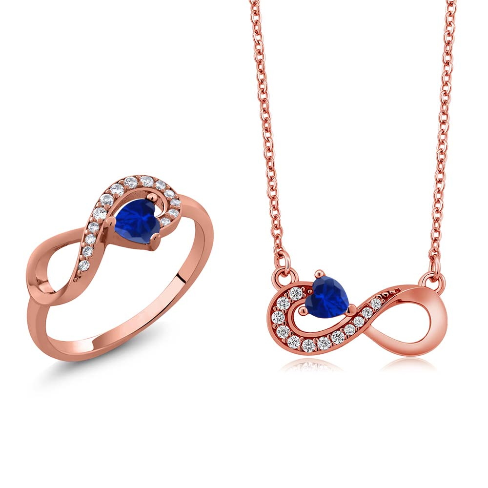 1.25 Ct Blue Simulated Sapphire 18K Rose Gold Plated Silver Ring Pendant Set