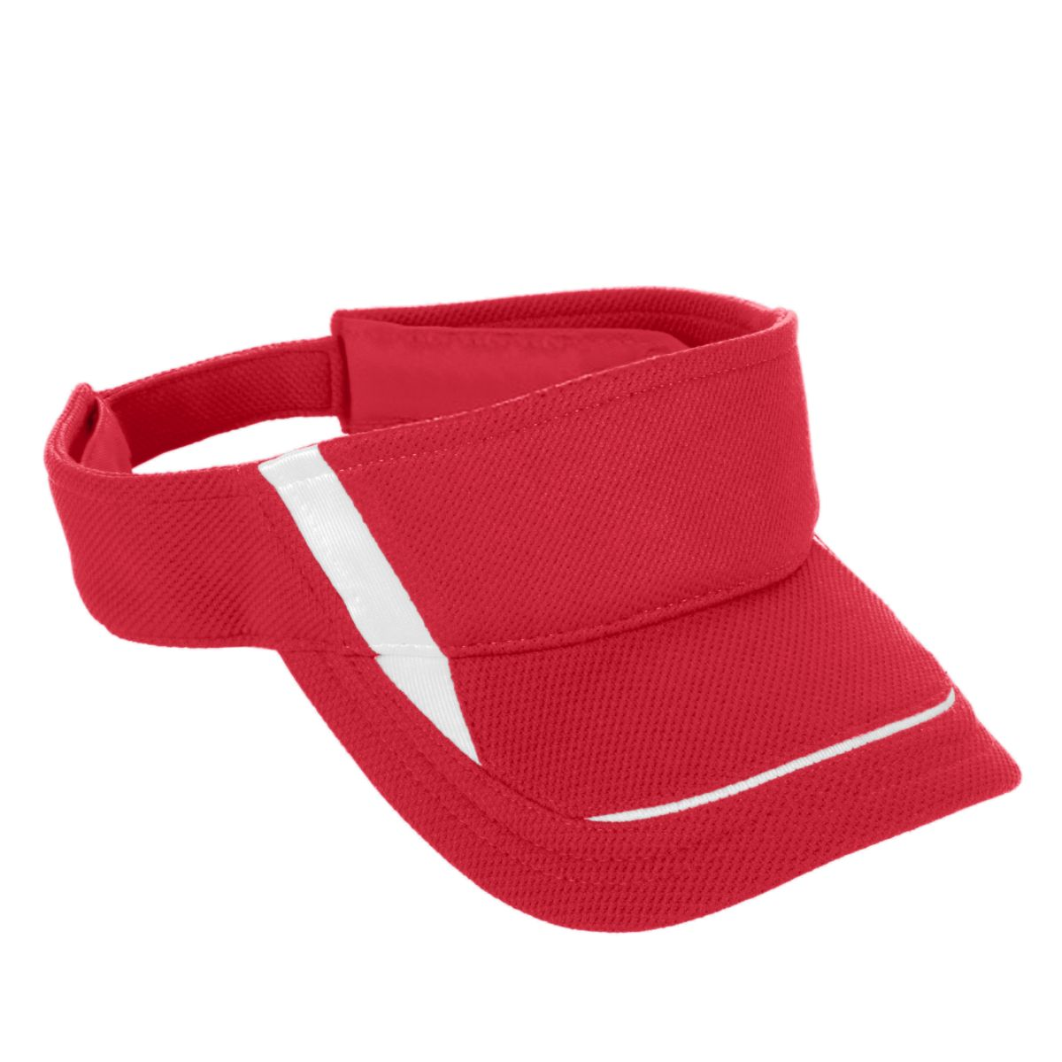 6276 Adjustable Wicking Mesh Edge Visor - Youth RED/WHITE OS