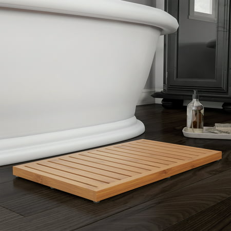 Bamboo Bath Mat- Natural Wooden Non-Slip Roll Up with ...