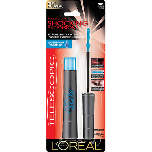 L'Oreal Paris Telescopic Shocking Extensions Waterproof Mascara, 981 Black, 0.24 fl oz