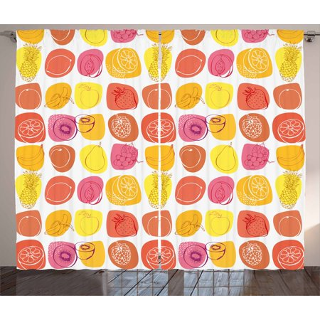 Fruits Curtains 2 Panels Set, Retro Pineapple Lemon Kiwi Raspberry Pop Art Modern Food Icons Caricature Graphic, Window Drapes for Living Room Bedroom, 108W X 84L Inches, Multicolor, by Ambesonne
