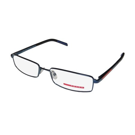34025a9ea8a6 New Prada Vps52a Mens Rectangular Full-Rim Blue   Black Frame Demo ...