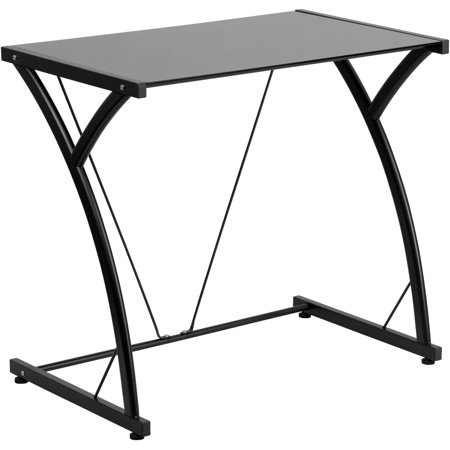 Flash Furniture Contemporary Tempered Glass Computer Desk with Matching Frame