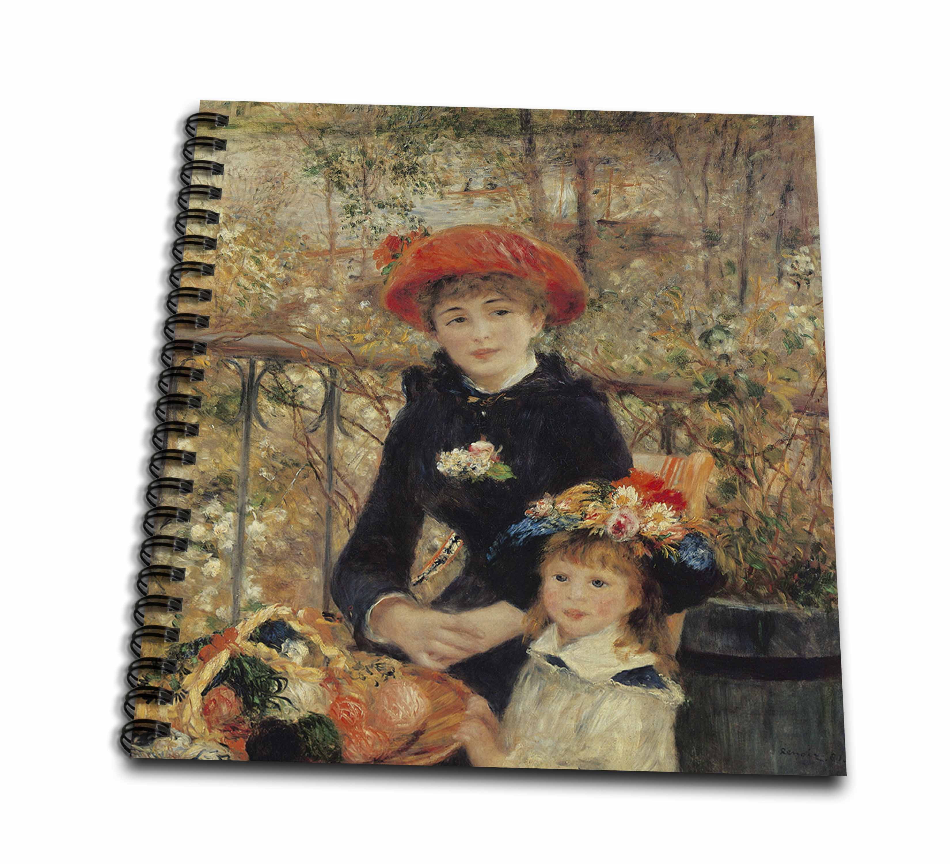 3dRose On the Terrace, 1879 by Pierre-Auguste Renoir - Drawing Book, 8 by 8-inch