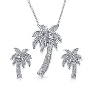 Nautical Pave Cubic Zirconia CZ Tropical Palm Tree Pendant Necklace Earrings Jewelry Set For Women 925 Sterling Silver