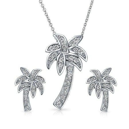 Bling Jewelry 925 Sterling Silver Pave CZ Palm Tree Pendant and Earrings Set