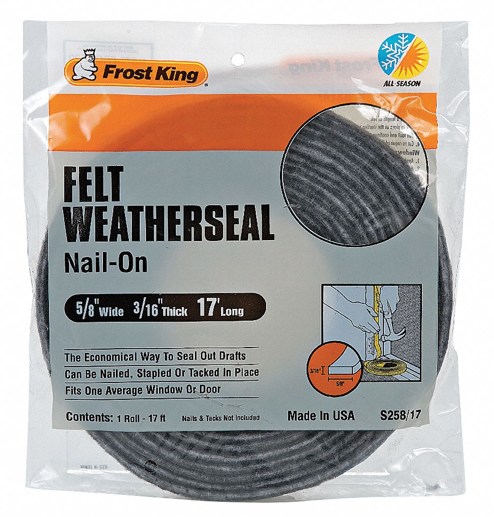 THERMWELL Felt Weatherstrip Tape, 5/8 x 3/16-In. x 17-Ft. S258/17H