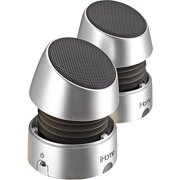 iHOME Rechargeable Collapsible Portable Mini Multimedia Speakers, Silver