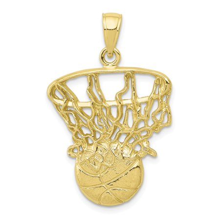 Roy Rose Jewelry 10K Yellow Gold Swoosh Basketball and Net Pendant 96w 10k Compact