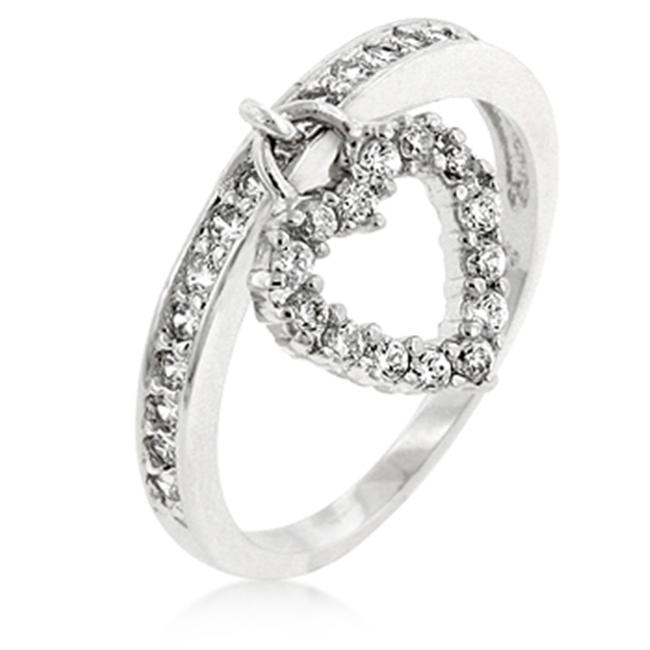 Kate Bissett R07728R-C01-09 Genuine Rhodium Plated Heart Charm Ring with Clear CZ Accents in Silvertone - Size 9