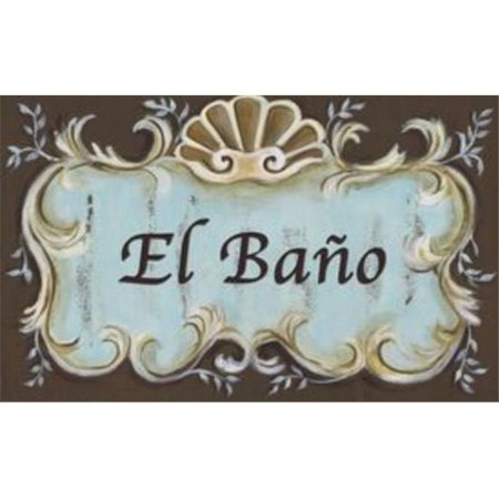 Stupell Industries WRP-238eb El Bano Blue Brown Crest Top Rect Wall (Best Way To Paint Words On Canvas)