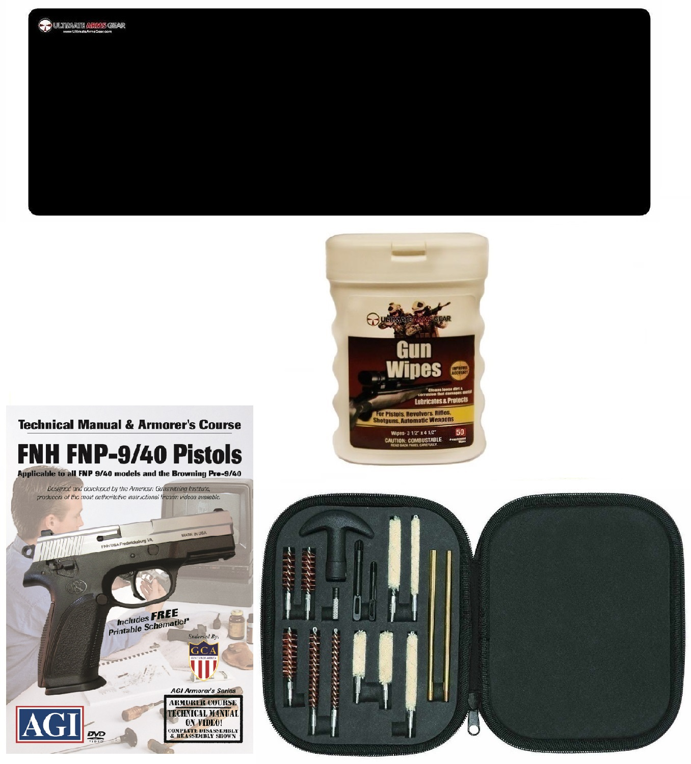 AGI DVD Armorer's Course FNH FNP-9 FN-40 Semi Auto Pistols + Ultimate Arms Gear Gunsmith & Armorer's Cleaning Bench Gun Mat + 17pc Handgun Pistol Cleaning Kit Brushes, Swab, Tips and Patchess + Wipes