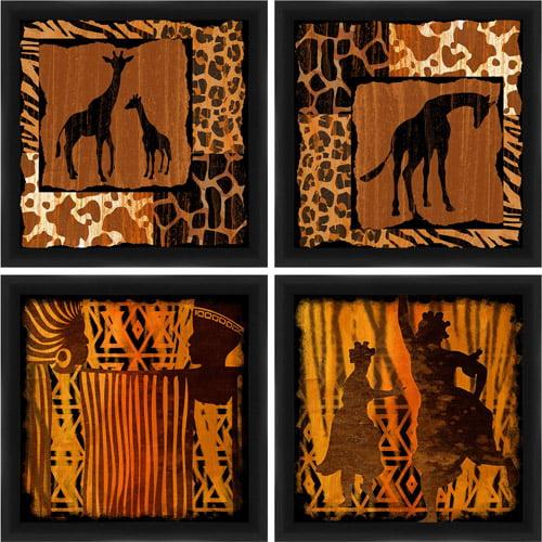 Tribal Animal Silhouettes Wall Art, Set of 4