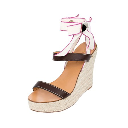 Brown Espadrille - Dsquared2 Women Brown Leather Espadrilles Platform Wedge Heel Sandals Shoes US 9 EU 39