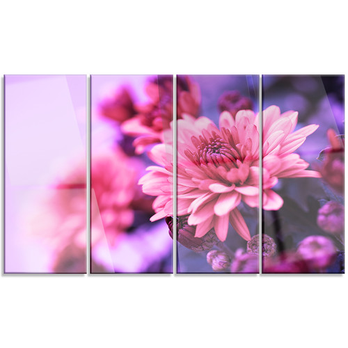 Design Art 'Colorful Autumnal Chrysanthemum' 4 Piece Graphic Art on Wrapped Canvas Set