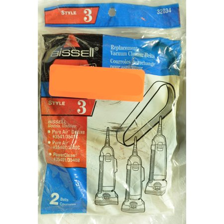 Bissell Upright Vacuum Cleaner Style 3 Belt, Fits: Models 3541-3541C, 35402, 3540C, 35401, 3540B, Bissell Part Number 32034, 2 belts in pack