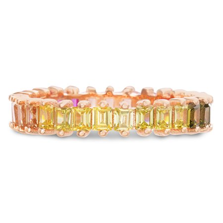 Multicolored Cubic Zirconia Pronged Eternity Band Ring in Rose Gold Plated Sterling Silver