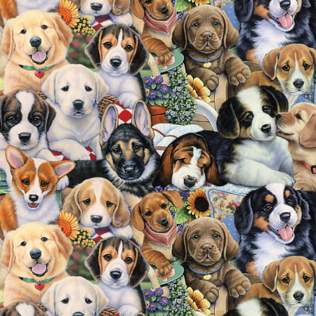 David Textiles Anti-pill Fleece Fabric Gardening Puppies 60 Inches ()