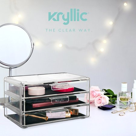 Kryllic Acrylic Makeup Jewelry Cosmetic Organizer - Clear Acrylic Display Storage for Jewelry Makeup Pallets & all Bathroom Accessories keep your Vanity & Dresser Organized with set of 3 Drawers - image 6 of 6