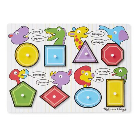 Melissa & Doug Shapes Wooden Peg Puzzle, 8pc](Puzzle Games For Toddlers)