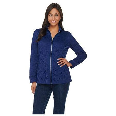 Denim & Co. Long Sleeve Lace Zip Front