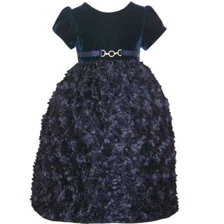 American Princess Little Girls Navy 3D Floral Adorned Occasion Dress