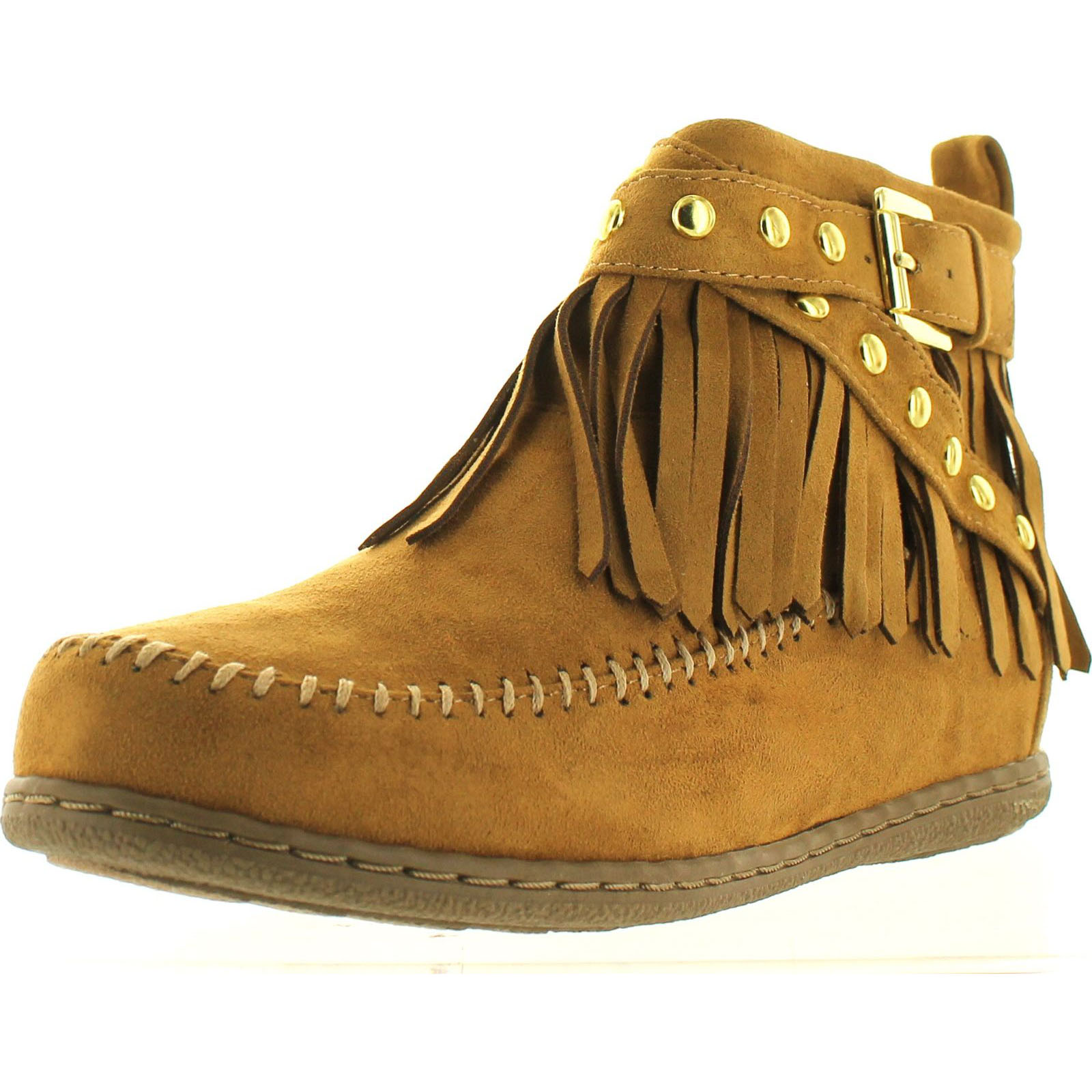 Soda Women's Dahlia Faux Suede Moccasin Fringe Wedge Ankle Booties