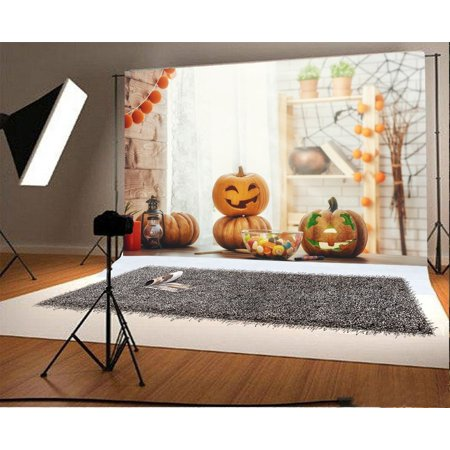 GreenDecor Polyster 7x5ft Backdrop Photography Background Halloween Pumpkins Smiling Face Grimace Lantern Desk Indoor Bokeh Background Children Family Photo Background Backdrop Shoot Video Studio - Halloween Family Photo Ideas