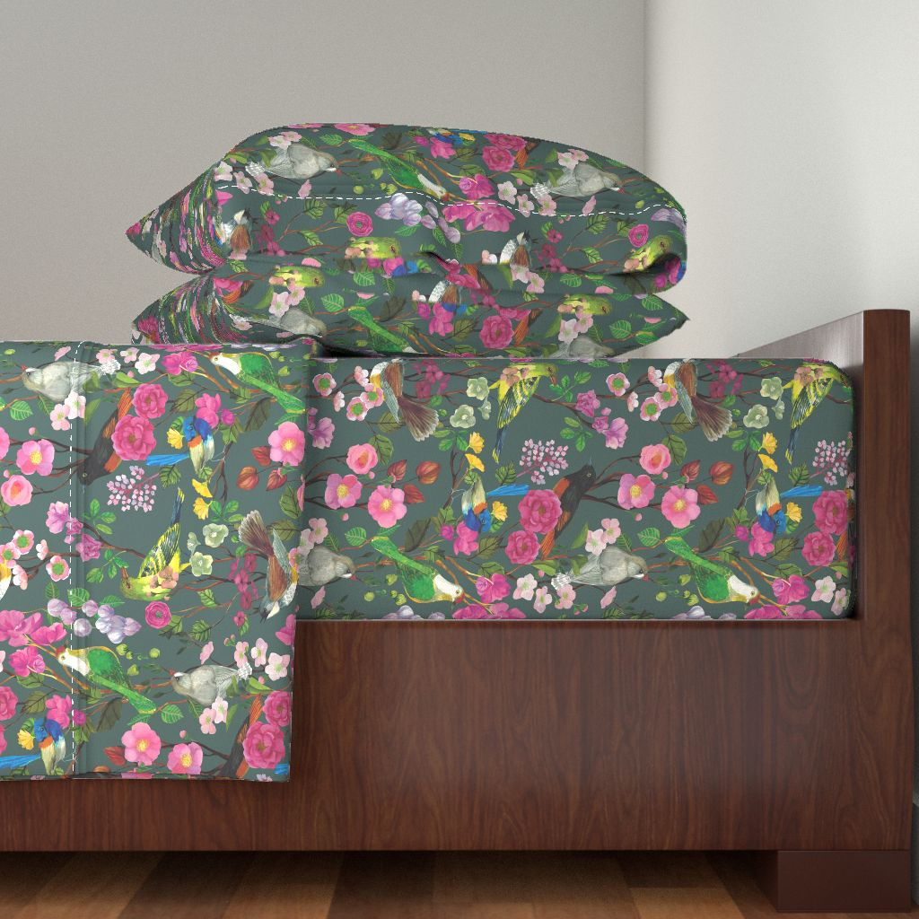 Birds Blooms Chinoiserie Grey Opulent 100% Cotton Sateen Sheet Set by Roostery