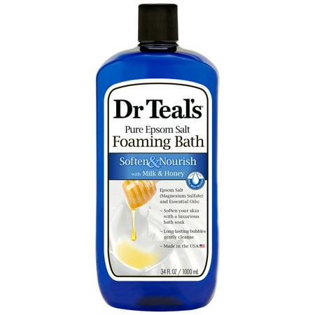 (2 pack) Dr Teal's Soften & Nourish with Milk & Honey Foaming Bath, 34 oz (Foaming Milk)