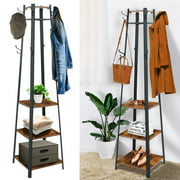 Coat Rack, Kingso Coat Rack Stand with 3 Shelves Storage for Entryway Hallway 3 in 1 Hall Tree Wood Furniture
