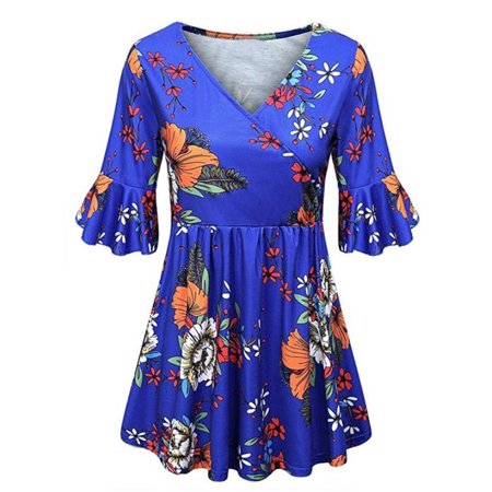 Plus Size Women Boho Floral Pleated Summer Blouse Tunic Top Ladies Swing T-shirt Swing Top Tee