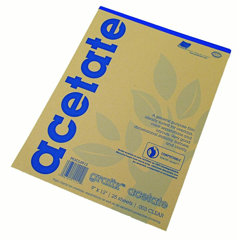 Grafix Clear Acetate Film, .003mm, 9in x 12in