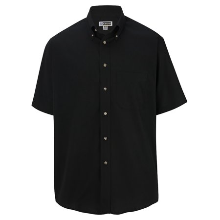 Men's Big And Tall Button Down Short Sleeve Poplin Shirt, BLACK, LT
