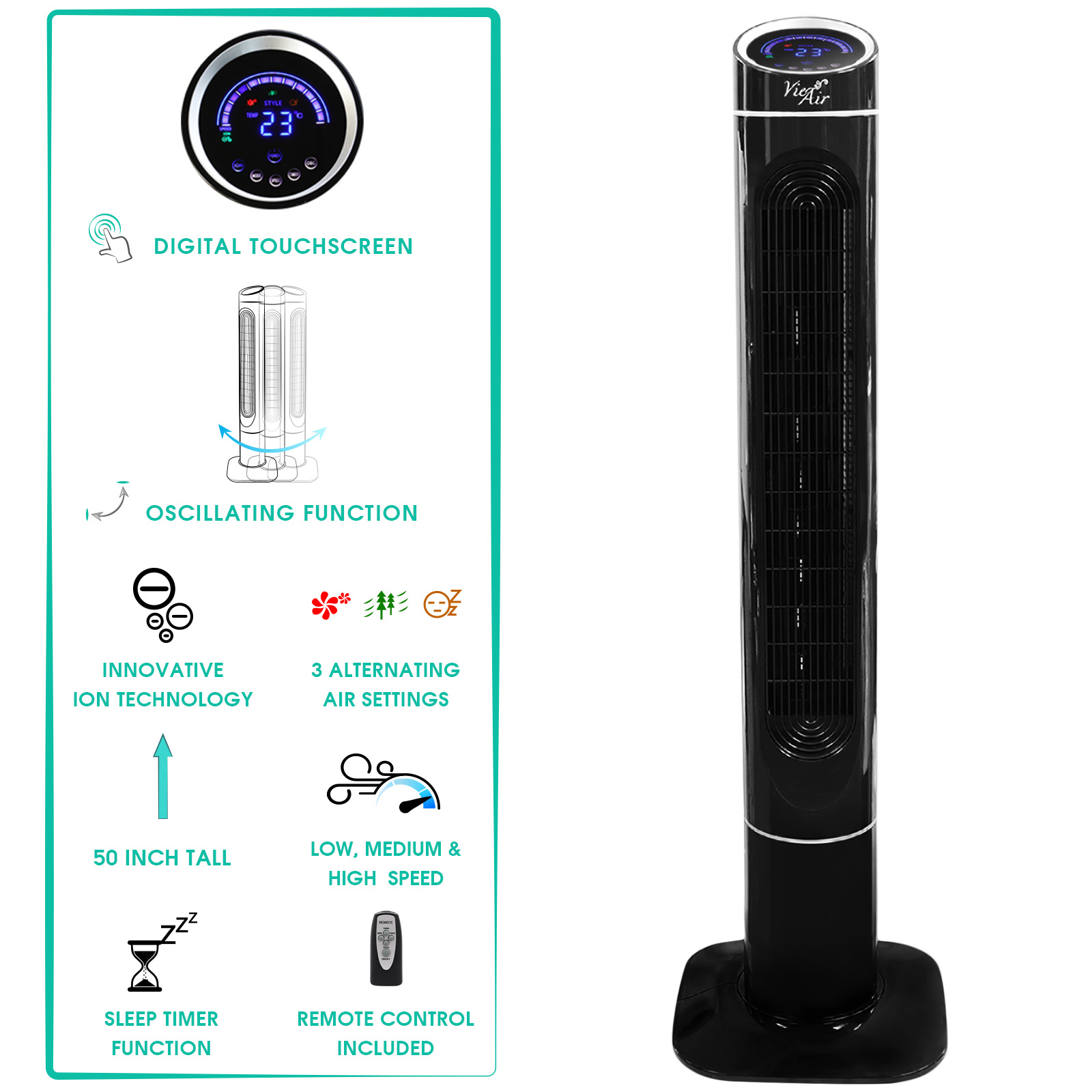 "Vie Air 50"" Luxury Digital 3 Speed High Velocity Tower Fan with Fresh Air Ionizer and Remote Control in Sleek Black"