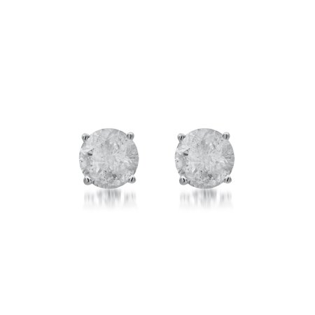 1 Carat Diamond Stud Earrings - 1 Carat T.W. Round White Diamond Sterling Silver Stud Earrings