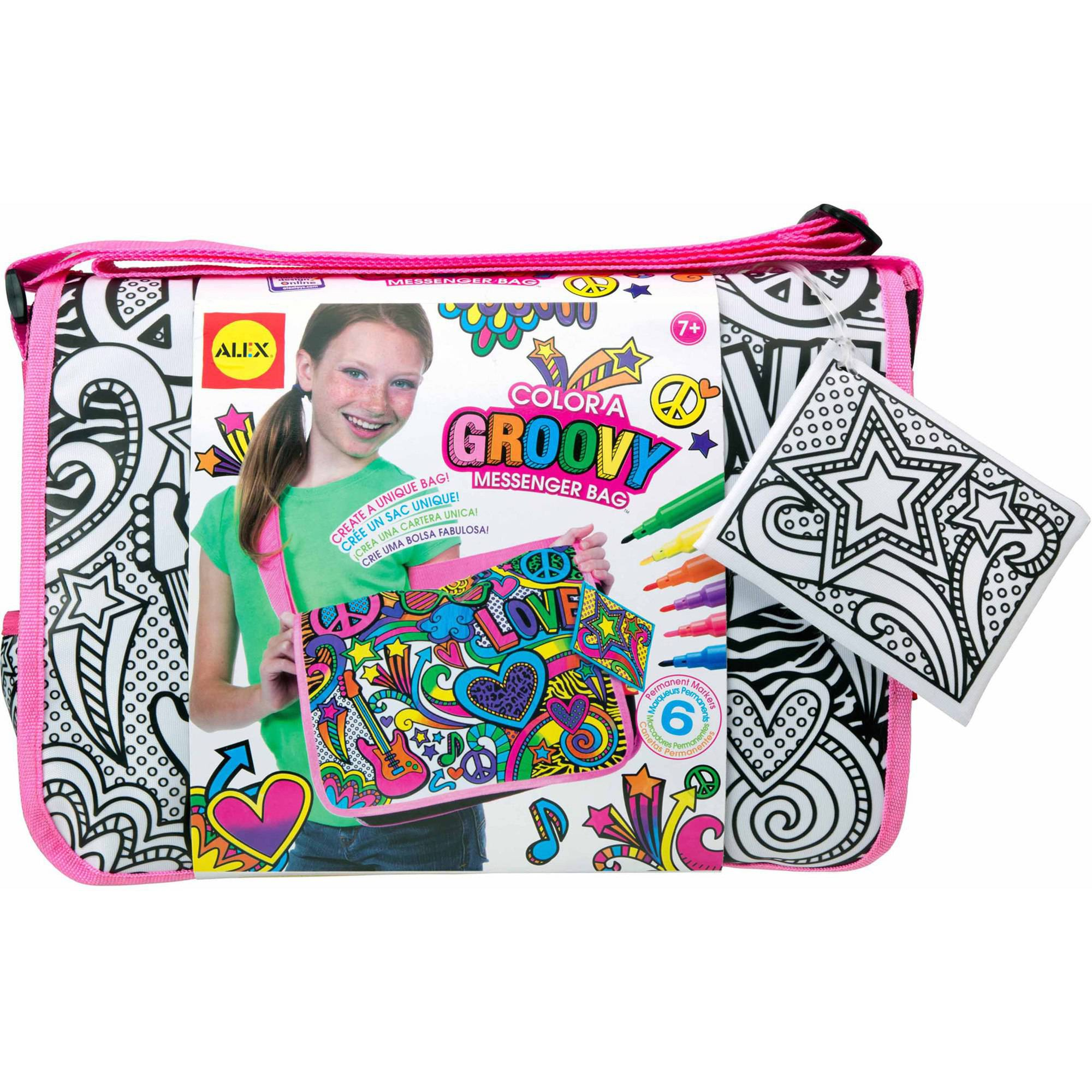 ALEX Toys Color a Bag and Accessories, Color a Groovy Messenger Bag