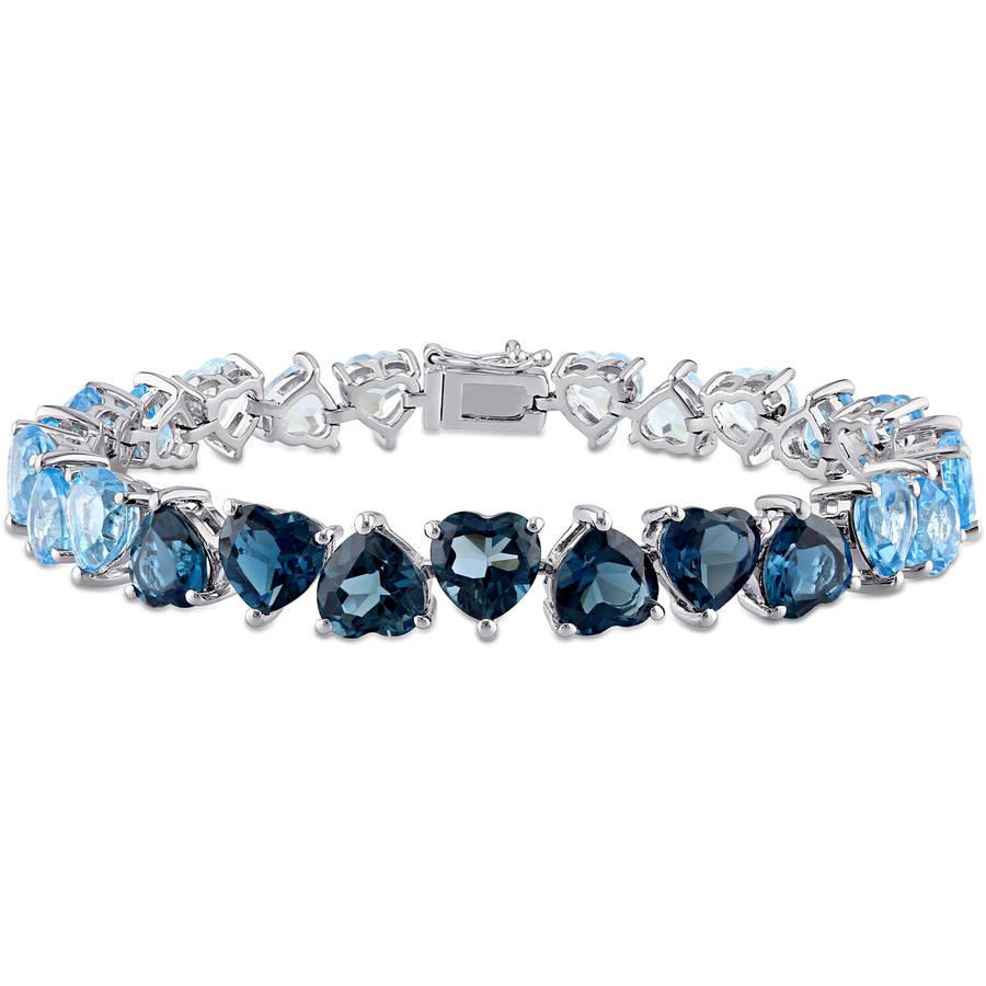 """Tangelo 37-3 8 Carat T.G.W. Sky, Swiss, and London Blue Topaz Sterling Silver Heart Bracelet, 7.25"""" by Generic"""