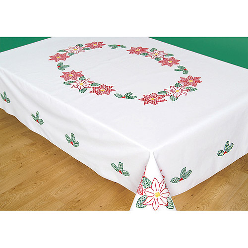 "Stamped White Table Cloth, 50"" x 70"", Poinsettias"
