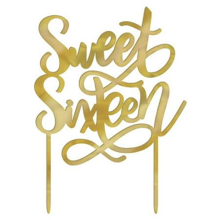 Sweet 16 'Blush' Gold Cake Topper - Sweet 16 Cake Ideas