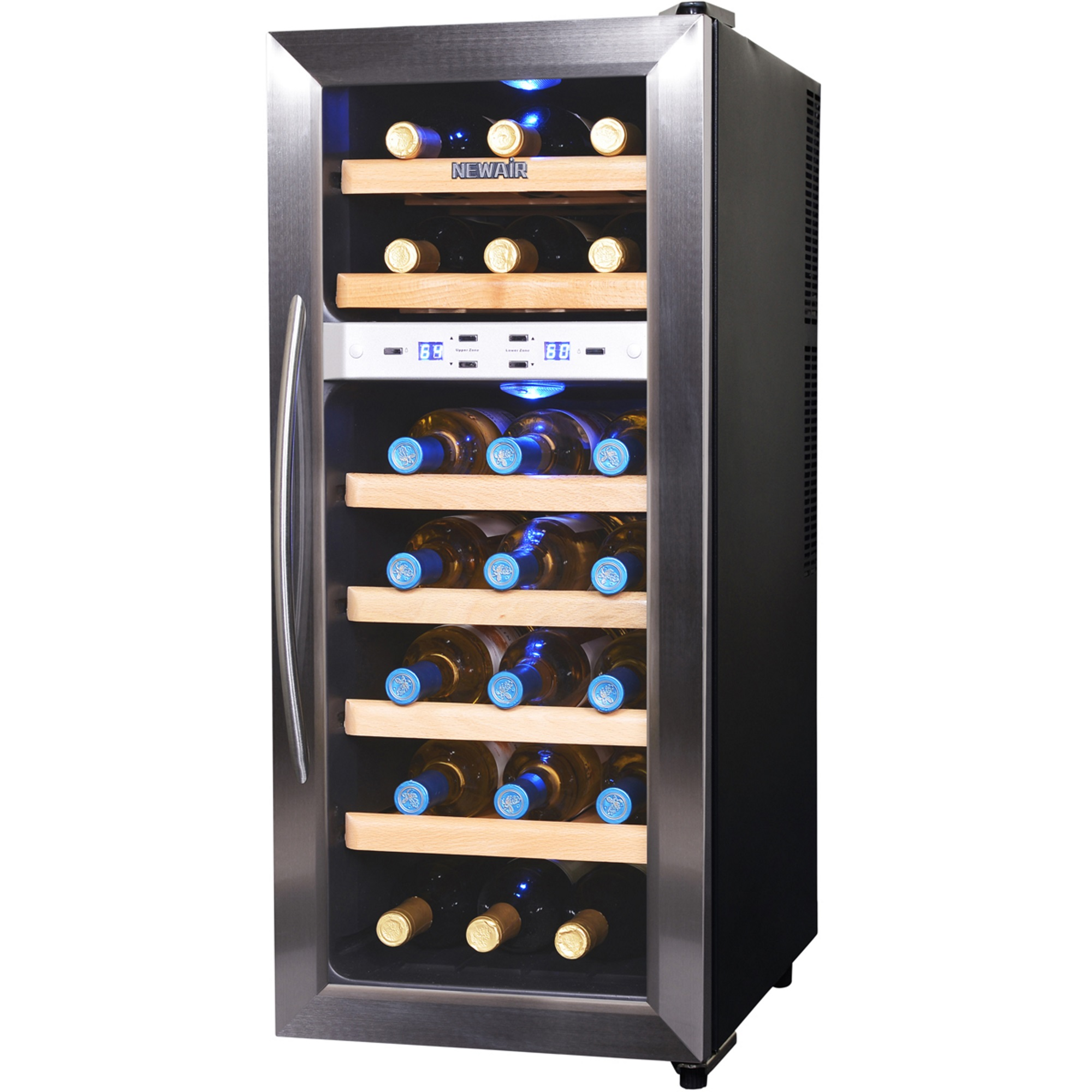NewAir 21-Bottle Thermoelectric Wine Refrigerator, Stainless Steel and Black